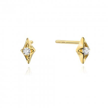 Biżuteria SAXO 14K Kolczyki z diamentami 0,08ct CK-436 Złoto