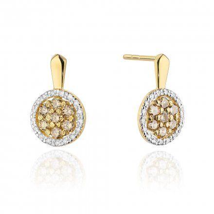 Biżuteria SAXO 14K Kolczyki z brązowymi diamentami 0,70ct /0,17CT CK-440 Złoto