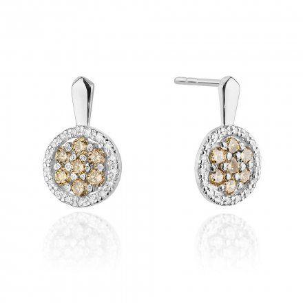 Biżuteria SAXO 14K Kolczyki z brązowymi diamentami 0.70ct/0.17ctCK-440 Białe Złoto