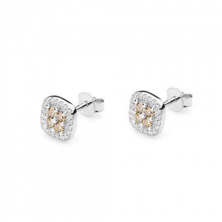 Biżuteria SAXO 14K Kolczyki z brązowymi diamentami 0.40ct/0.20ct CK-441 Białe Złoto