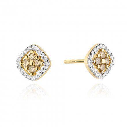 Biżuteria SAXO 14K Kolczyki z brązowymi diamentami 0.40ct/0.20ct CK-441 Złoto