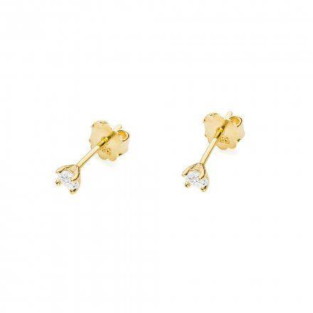 Biżuteria SAXO 14K Kolczyki z diamentami 0,08ct CK-66 Złoto
