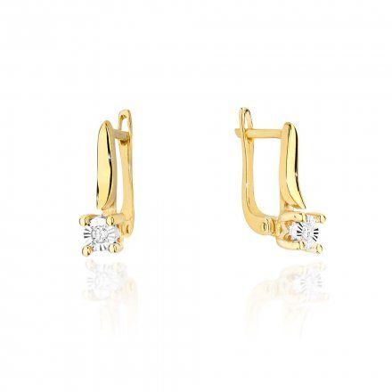 Biżuteria SAXO 14K Kolczyki z diamentami 0,04ct CK-65 Złoto