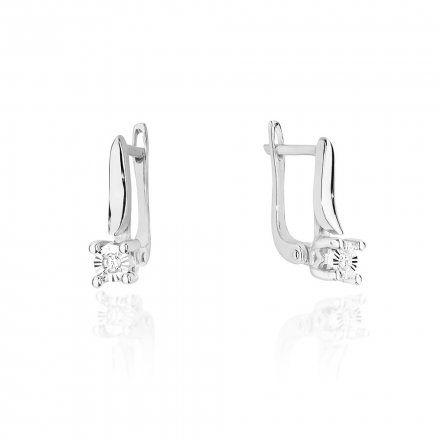 Biżuteria SAXO 14K Kolczyki z diamentami 0,04ct CK-65 Białe Złoto
