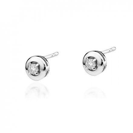 Biżuteria SAXO 14K Kolczyki z diamentami 0,20ct CK-45 Białe Złoto