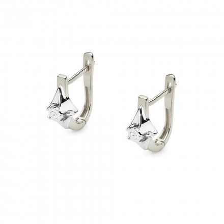 Biżuteria SAXO 14K Kolczyki z diamentami 0,06ct CK-56 Białe Złoto