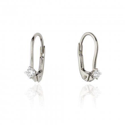 Biżuteria SAXO 14K Kolczyki z diamentami 0,06ct CK-57 Białe Złoto