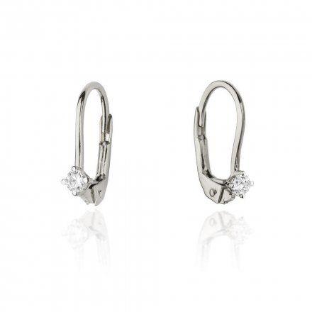 Biżuteria SAXO 14K Kolczyki z diamentami 0,08ct CK-57 Białe Złoto