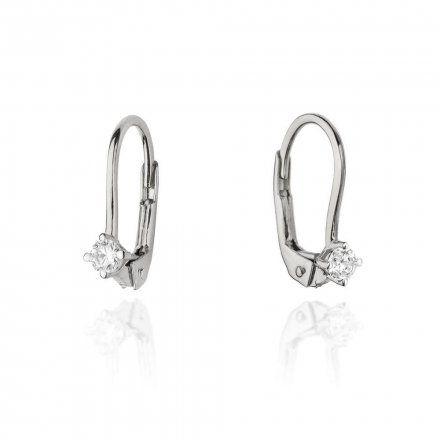Biżuteria SAXO 14K Kolczyki z diamentami 0,14ct CK-57 Białe Złoto