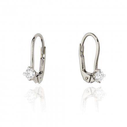 Biżuteria SAXO 14K Kolczyki z diamentami 0,16ct CK-57 Białe Złoto