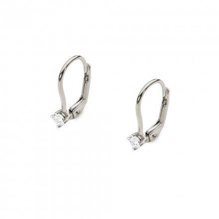 Biżuteria SAXO 14K Kolczyki z diamentami 0,20ct CK-57 Białe Złoto