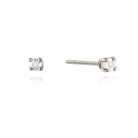 Biżuteria SAXO 14K Kolczyki z diamentami 0,02ct CK-58 Białe Złoto