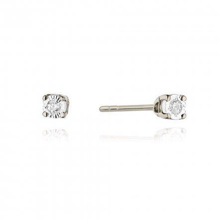 Biżuteria SAXO 14K Kolczyki z diamentami 0,06ct CK-58 Białe Złoto