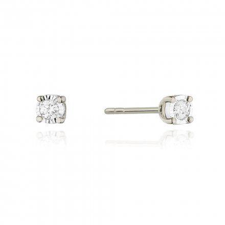 Biżuteria SAXO 14K Kolczyki z diamentami 0,16ct CK-58 Białe Złoto
