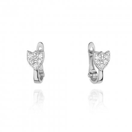 Biżuteria SAXO 14K Kolczyki z diamentami 0,14ct CK-64 Białe Złoto