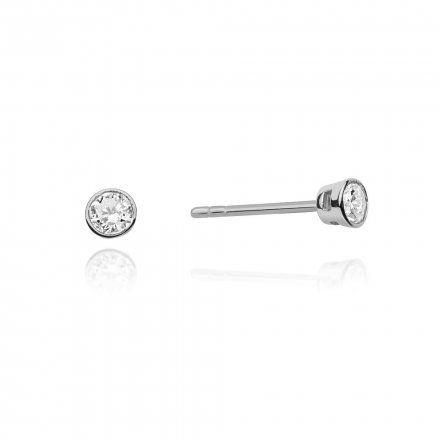 Biżuteria SAXO 14K Kolczyki z diamentami 0,20ct CK-67 Białe Złoto