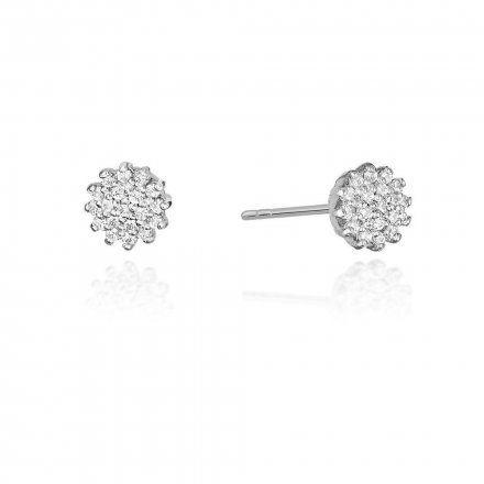 Biżuteria SAXO 14K Kolczyki z diamentami 0,20ct CK-401 Białe Złoto