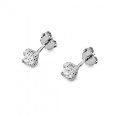 Biżuteria SAXO 14K Kolczyki z diamentami 0,16ct CK-402 Białe Złoto