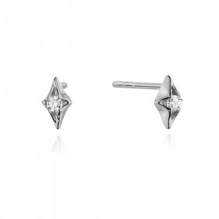 Biżuteria SAXO 14K Kolczyki z diamentami 0,08ct CK-436 Białe Złoto