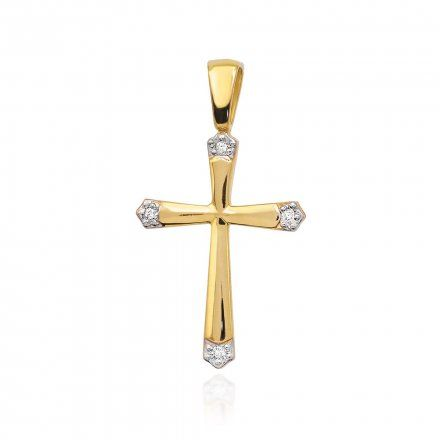 Biżuteria SAXO 14K Zawieszka krzyżyk  0,02ct K-1 Złoto z diamentem