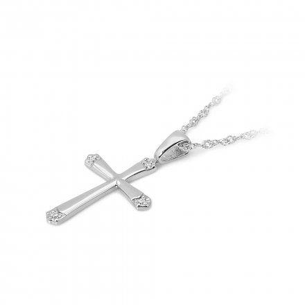 Biżuteria SAXO 14K Zawieszka krzyżyk  0,02ct K-1 Białe Złoto z diamentem