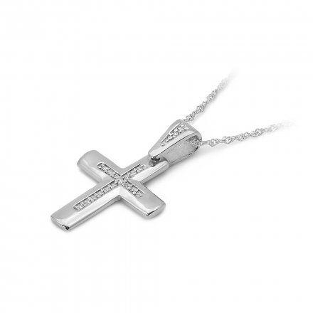 Biżuteria SAXO 14K Zawieszka krzyżyk  0,09ct K-2 Białe Złoto z diamentem