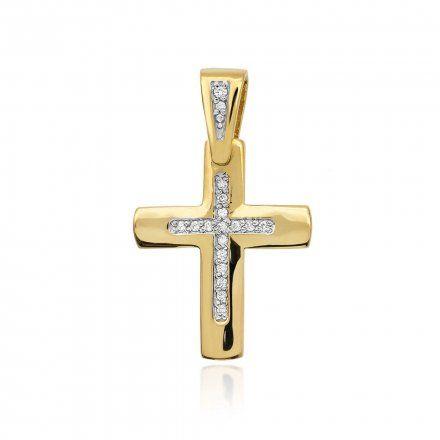 Biżuteria SAXO 14K Zawieszka krzyżyk  0,09ct K-2  Złoto z diamentem
