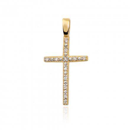 Biżuteria SAXO 14K Zawieszka krzyżyk  0,05ct K-4  Złoto z diamentem