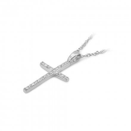 Biżuteria SAXO 14K Zawieszka krzyżyk  0,05ct K-4 Biale Złoto z diamentem