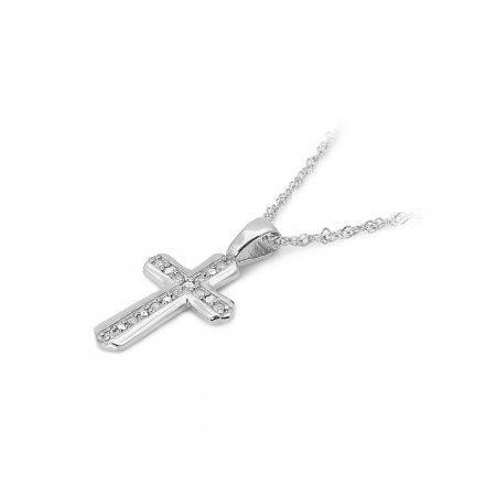 Biżuteria SAXO 14K Zawieszka krzyżyk  0,03ct K-5 Biale Złoto z diamentem