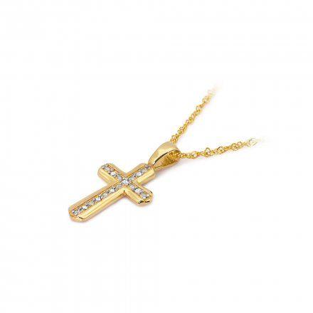 Biżuteria SAXO 14K Zawieszka krzyżyk  0,03ct K-5 Złoto z diamentem