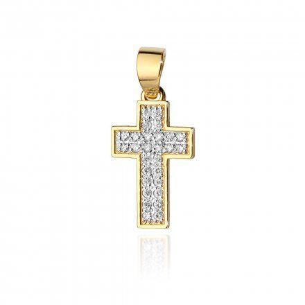 Biżuteria SAXO 14K Zawieszka krzyżyk  0,09ct K-7 Złoto z diamentem