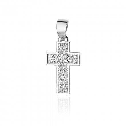 Biżuteria SAXO 14K Zawieszka krzyżyk  0,09ct K-7 Białe Złoto z diamentem