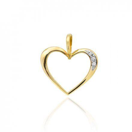 Biżuteria SAXO 14K Zawieszka serce  0,025ct S-1 Złoto z diamentem