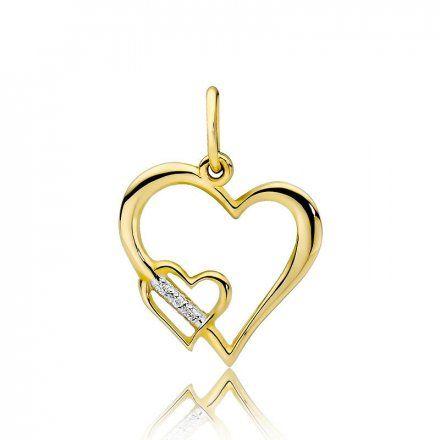 Biżuteria SAXO 14K Zawieszka serce  0,015ct S-2 Złoto z diamentem