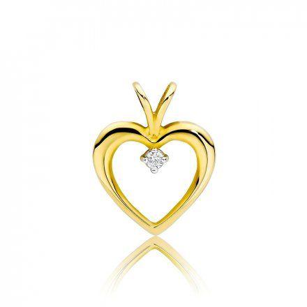 Biżuteria SAXO 14K Zawieszka serce  0,04ct S-3 Złoto z diamentem