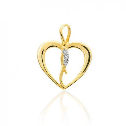Biżuteria SAXO 14K Zawieszka serce  0,025ct S-4 Złoto z diamentem