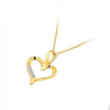 Biżuteria SAXO 14K Zawieszka serce  0,015ct S-6 Złoto z diamentem
