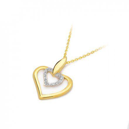 Biżuteria SAXO 14K Zawieszka serce  0,06ct S-16 Złoto z diamentem