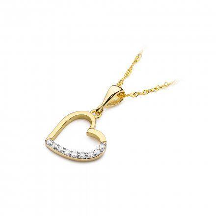 Biżuteria SAXO 14K Zawieszka serce  0,13ct S-18 Złoto z diamentem