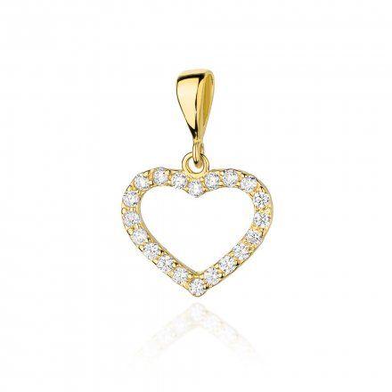 Biżuteria SAXO 14K Zawieszka serce  0,28ct S-19 Złoto z diamentem
