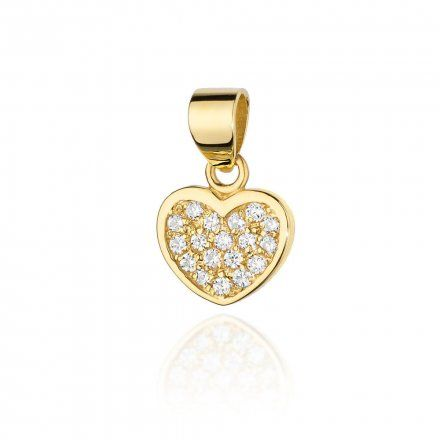 Biżuteria SAXO 14K Zawieszka serce  0,15ct S-20 Złoto z diamentem