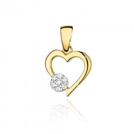 Biżuteria SAXO 14K Zawieszka serce  0,06ct S-21 Złoto z diamentem