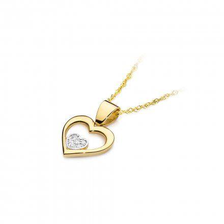 Biżuteria SAXO 14K Zawieszka serce  0,05ct S-22 Złoto z diamentem