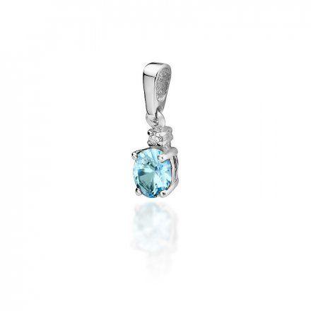 Biżuteria SAXO 14K Zawieszka z topazem  0,50ct Z-1 Białe Złoto z diamentem