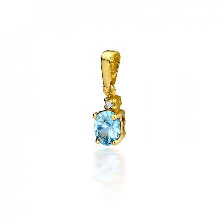 Biżuteria SAXO 14K Zawieszka z topazem  0,50ct Z-1 Złoto z diamentem