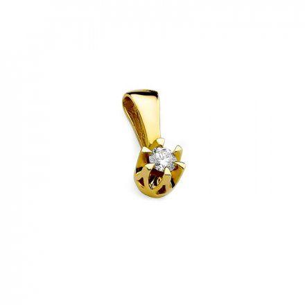 Biżuteria SAXO 14K Zawieszka 0,10ct Z-32 Złoto z diamentem