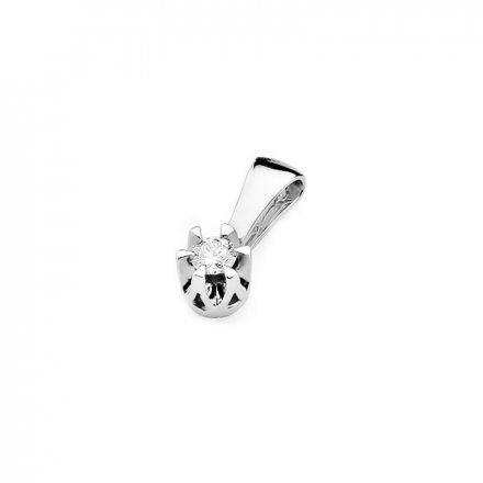 Biżuteria SAXO 14K Zawieszka 0,10ct Z-32 Białe Złoto z diamentem