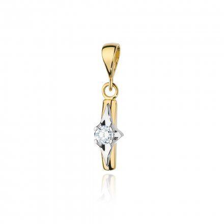 Biżuteria SAXO 14K Zawieszka 0,10ct Z-88 Złoto z diamentem