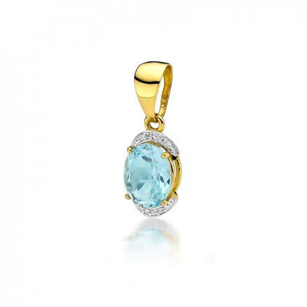 Biżuteria SAXO 14K Zawieszka z topazem  3,20ct Z-150 Złoto z diamentem